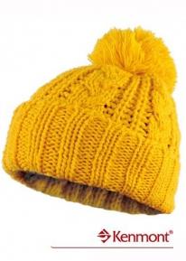 Узорно вязаная шапка  с помпоном