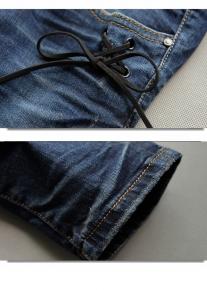 Джинсы декорированные шнуровкой