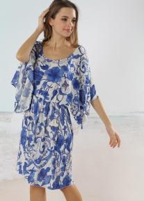Свободный сарафан в сине-белых тонах
