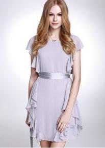 Нежное воздушное платье с оборочкам по бокам