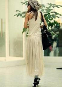 Длинное кофейное платье