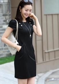 Офисное  платье с кармашками