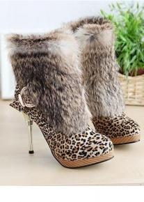 Леопардовые полусапожки с меховой отделкой