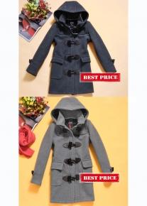 Пальто с капюшоном и застежками в виде рога