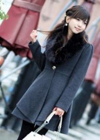 Приталенное пальто с меховым воротником