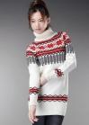 Длинный элегантный свитер с узорами
